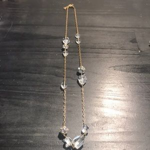J Crew necklace goldtone, rhinestones